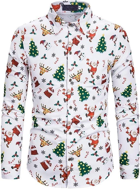 Luckycat Camisas de Navidad para Hombre Camisas Feas de Navidad Camisas de Manga Larga Estampadas con Gráficos de Duende para Navidad: Amazon.es: Ropa y accesorios