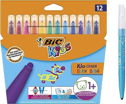 Plastidecor- Bl/íster de 24 unidades 12/rotuladores de BIC Kids Kit para Colorear ceras de colorear para ni/ños Estuche de Pl/ástico de 30 18/L/ápices de