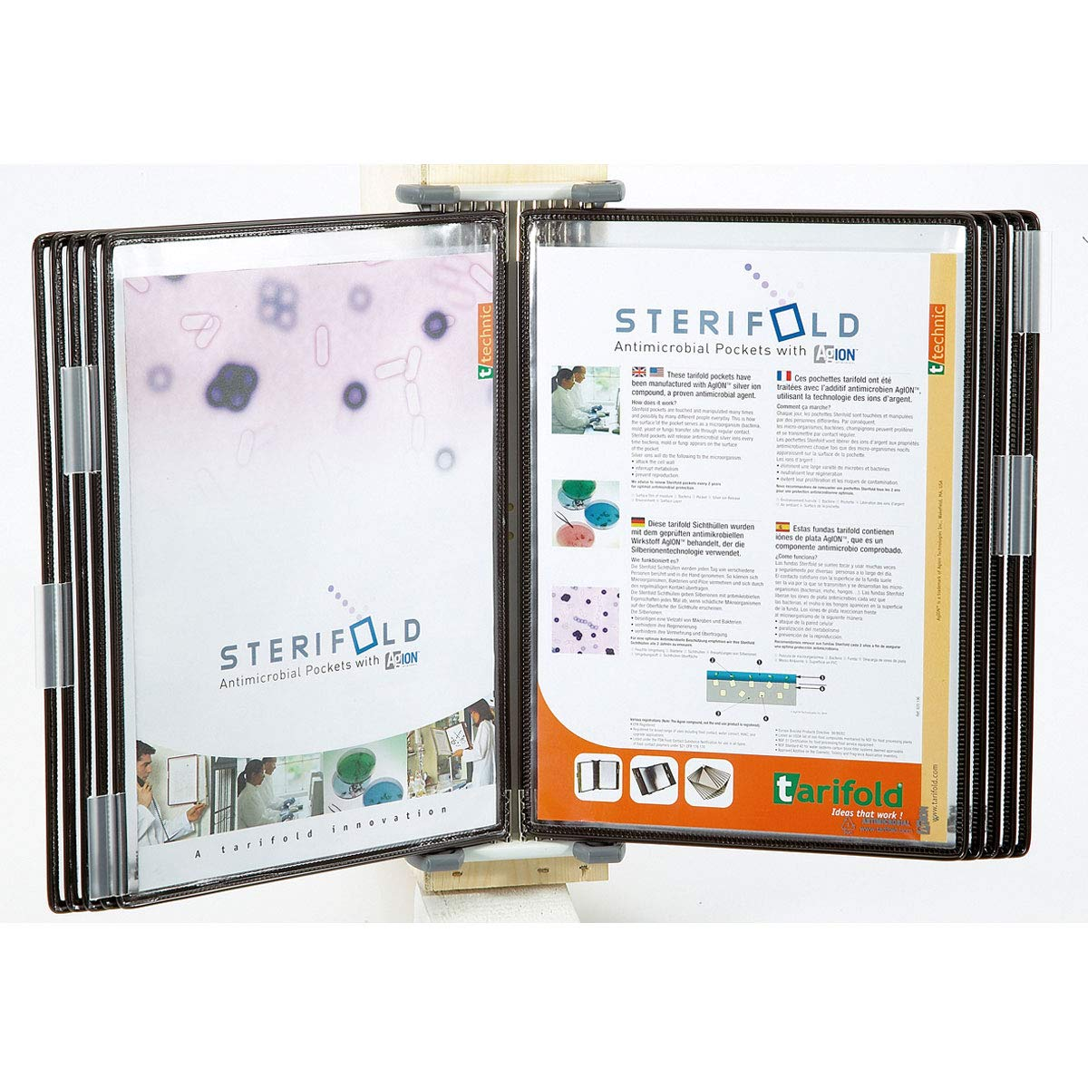 Tarifold Antimicrobial Wall Reference System with 10 Display Pockets, Black, 20 Sheet Capacity (WA271) by Tarifold