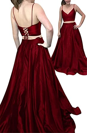 Ladsen Sexy 2 Piece Long Stain Prom Dresses L267 Burgundy US4 Size