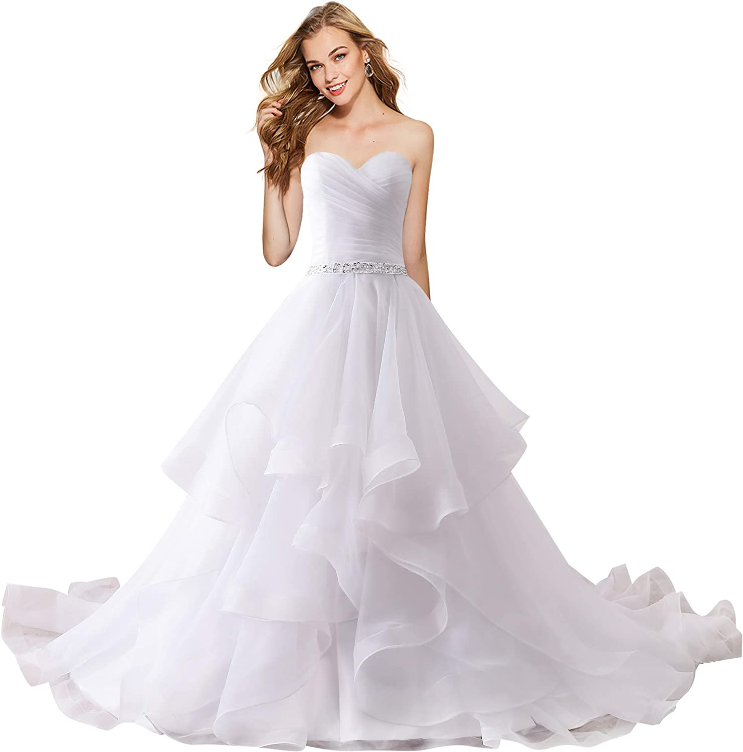 Apxpf Women S Organza Ruffles Ball Gown Wedding Dresses Bride Dress At Amazon Women S Clothing Store