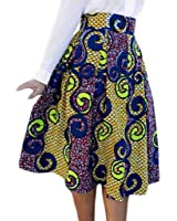 Lovezesent Women's African Print High Waist A-Line Pleated Midi Skirt
