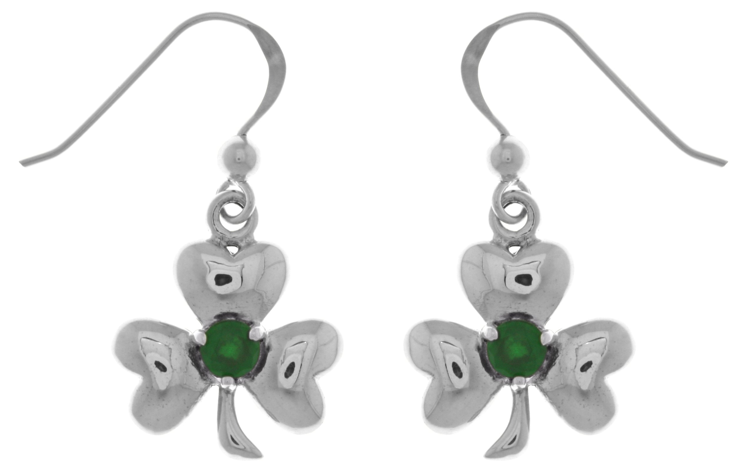 Jewelry Trends Sterling Silver Celtic Clover Shamrock Good Luck Dangle Earrings with Green Glass