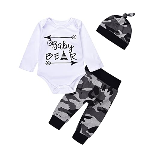 ec8e03bf67a3 Camouflage 3Pcs Newborn Baby Boys Cute Letter Baby Bear with Arrow Print  Romper+Pants+
