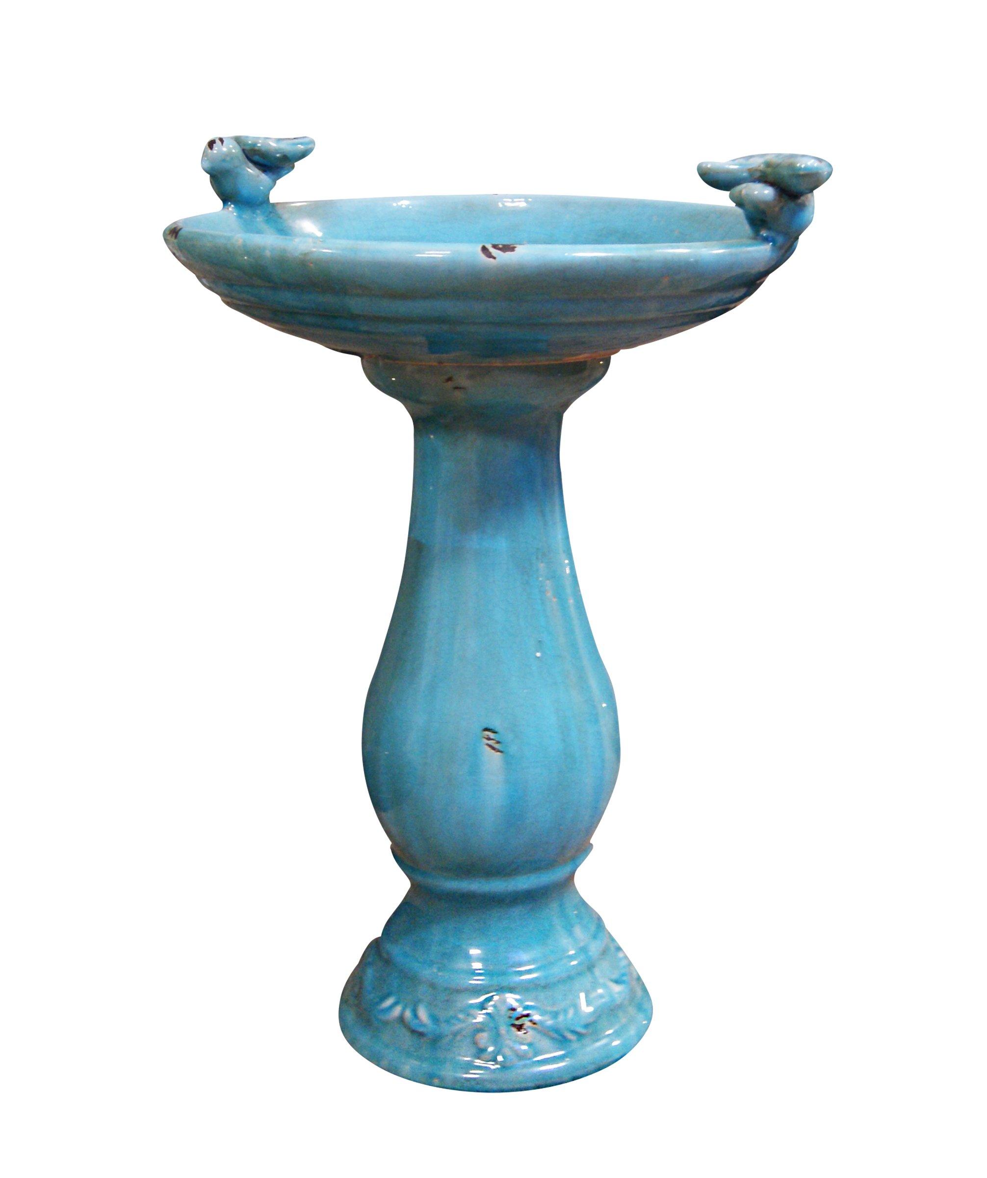 Benzara Antique Ceramic Bird Bath with 2 Birds, Turquoise by Benzara