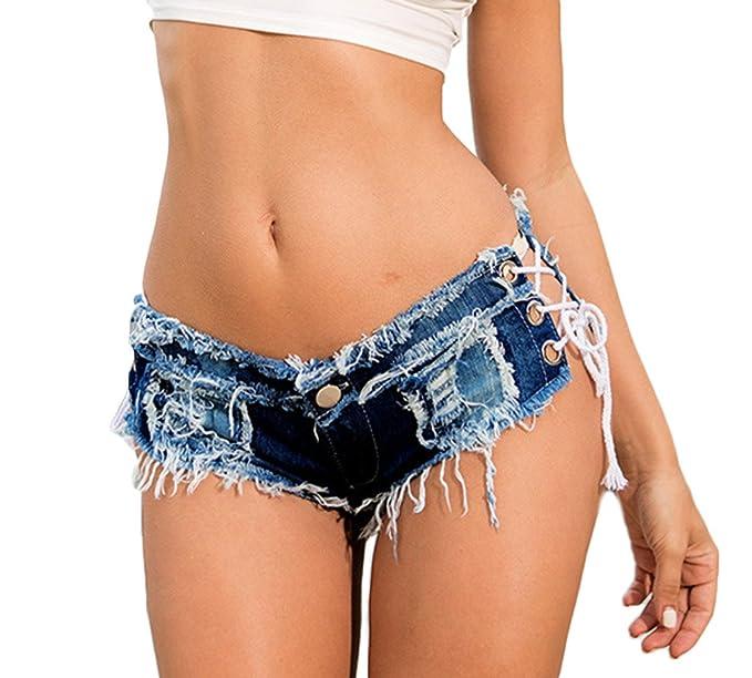 Lukis Damen Denim Hot Pants Mini Jeans Kurz Shorts mit Loch  Amazon.de   Bekleidung 91cf1c2bcf