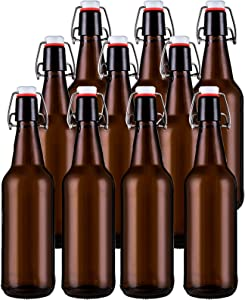 Jucoan 10 Pack Amber Glass Beer Bottles,16 oz Swing Top Glass Bottles with Airtight Rubber Seal Flip Cap Stoppers for Home Brewing Fermenting Beer, Kombucha Tea, Wine, Beverage