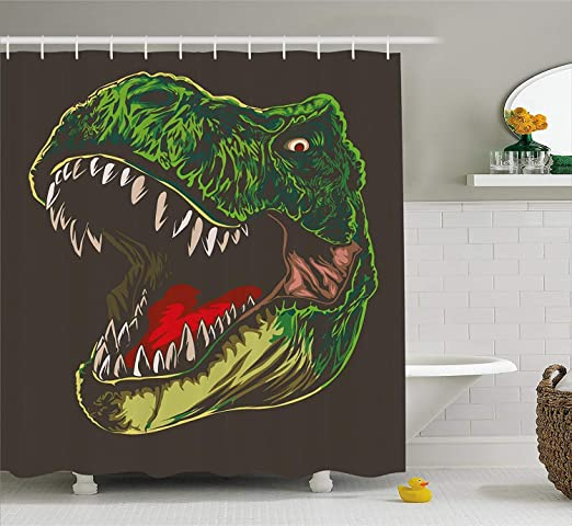 Jurassic Dinosaur Era Shower Curtain Liner Bathroom Set Polyester Fabric /& Hooks