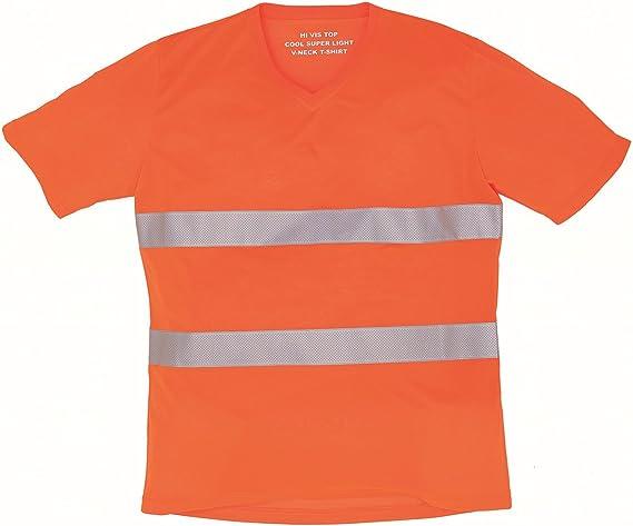 Workwear World WW163 - Camiseta de Manga Corta con Cuello en V, Naranja: Amazon.es: Bricolaje y herramientas