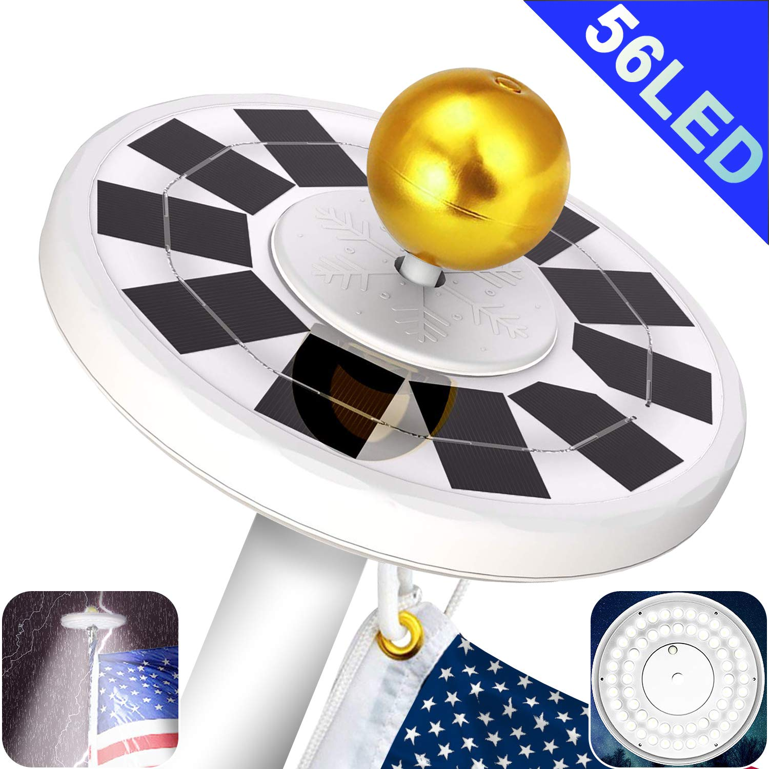 Yakalla 56 LED Solar Flag Pole Light Three-Grade Fifth Generation Adjustment IP67 Waterproof Lighting for Most 15 to 25 Ft Flagpole to Dusk to Dawn Auto On/Off Night by Yakalla