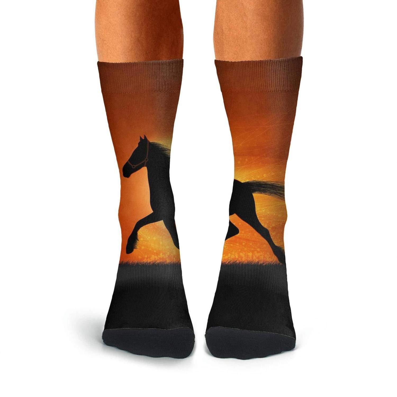 Over The Calf Socks For Men Cool Compression Stockings Men KCOSSH Running Horse Mens Crew Socks Crazy