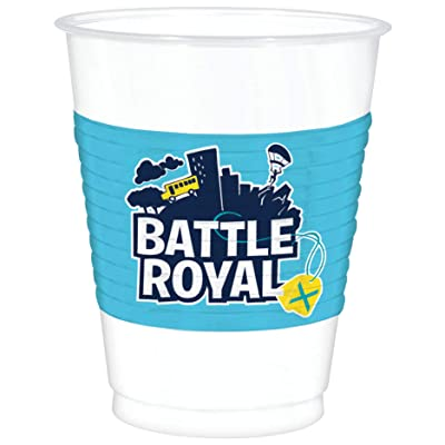 """Battle Royal\"" White and Blue Plastic Party Cups 16 Oz, 8 Ct.: Toys & Games"