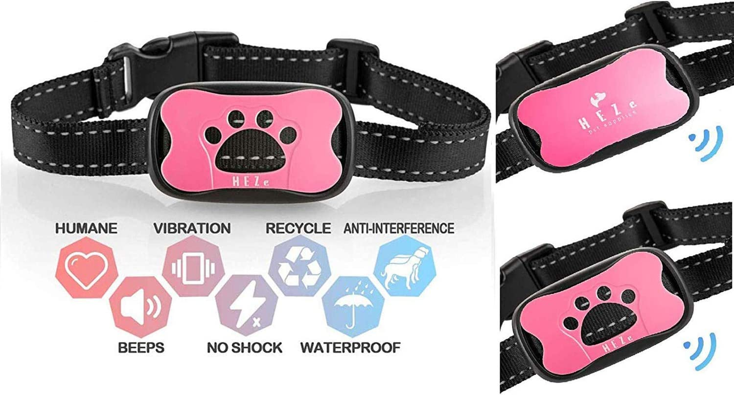 HEZe Dog Bark Collar Large Dogs Breeds,100/% Waterproof Medium Humane Vibration /& Sound Care Modes Pink No Shock Anti Barking Collar for Small Action Without Remote