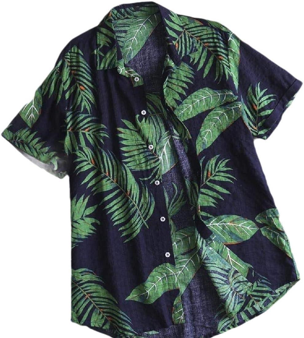 HANA+Dora Men Short Sleeve Button Front Print Cotton Beach Summer Hawaiian Shirt