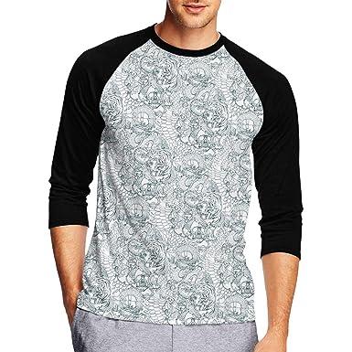 91b4252d54f31 Men's Baseball Tee - Tiger Dragon Skulls and Floral Pattern 3/4 Sleeve  Jersey Shirt