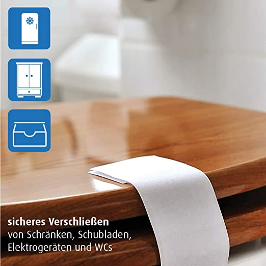 Reer 5190.0 - Cierre de seguridad para armarios o electrodomésticos (2 unidades), color blanco: Amazon.es: Bebé