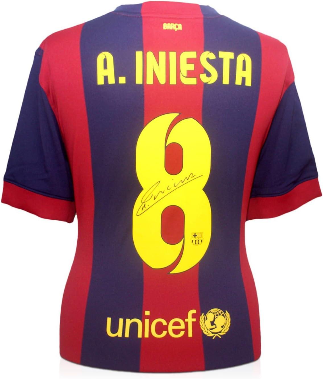 2014-15 de Barcelona camiseta de fútbol firmada por Andrés Iniesta ...