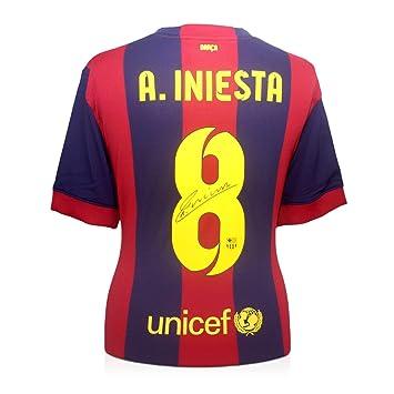 2014-15 de Barcelona camiseta de fútbol firmada por Andrés Iniesta