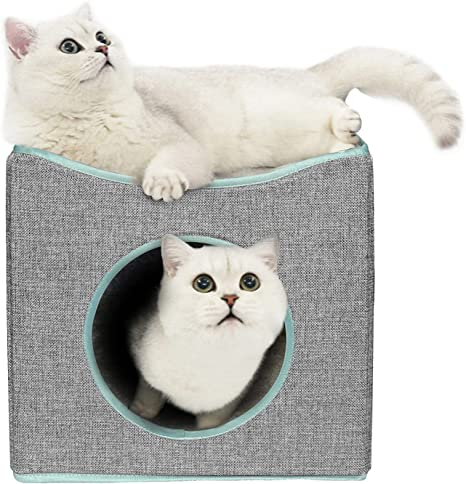 Marunda Cat Bed For Indoor Cats Cat Cube Kitty Bed Cat House Condo For Indoor Or Outdoor Cats Foldable Cat Hidewawy And Easy To Assemble Pet Supplies