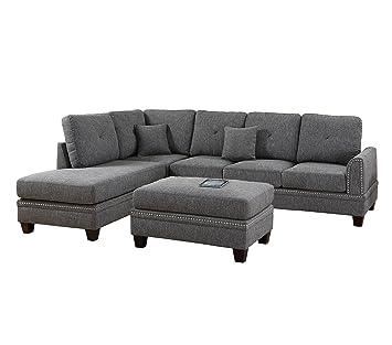 Amazon Com Poundex Y651115 Pdex F6511 2 Pcs Sectional Sofa Grey