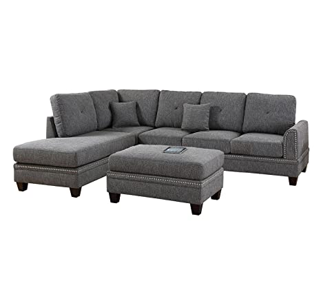 Awe Inspiring Poundex Pdex F6511 2 Pcs Sectional Sofa Grey Inzonedesignstudio Interior Chair Design Inzonedesignstudiocom