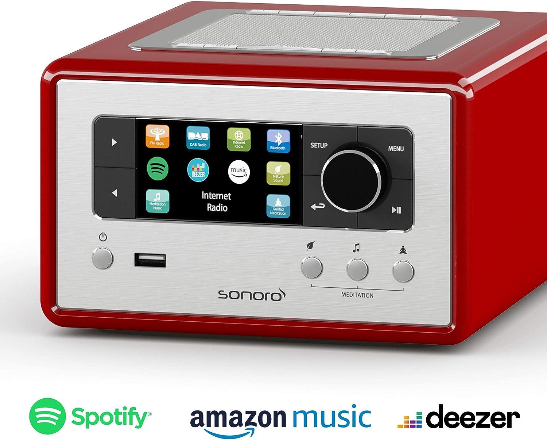Sonoro Relax Internet Radio Mit Bluetooth Und Usb Rot Elektronik