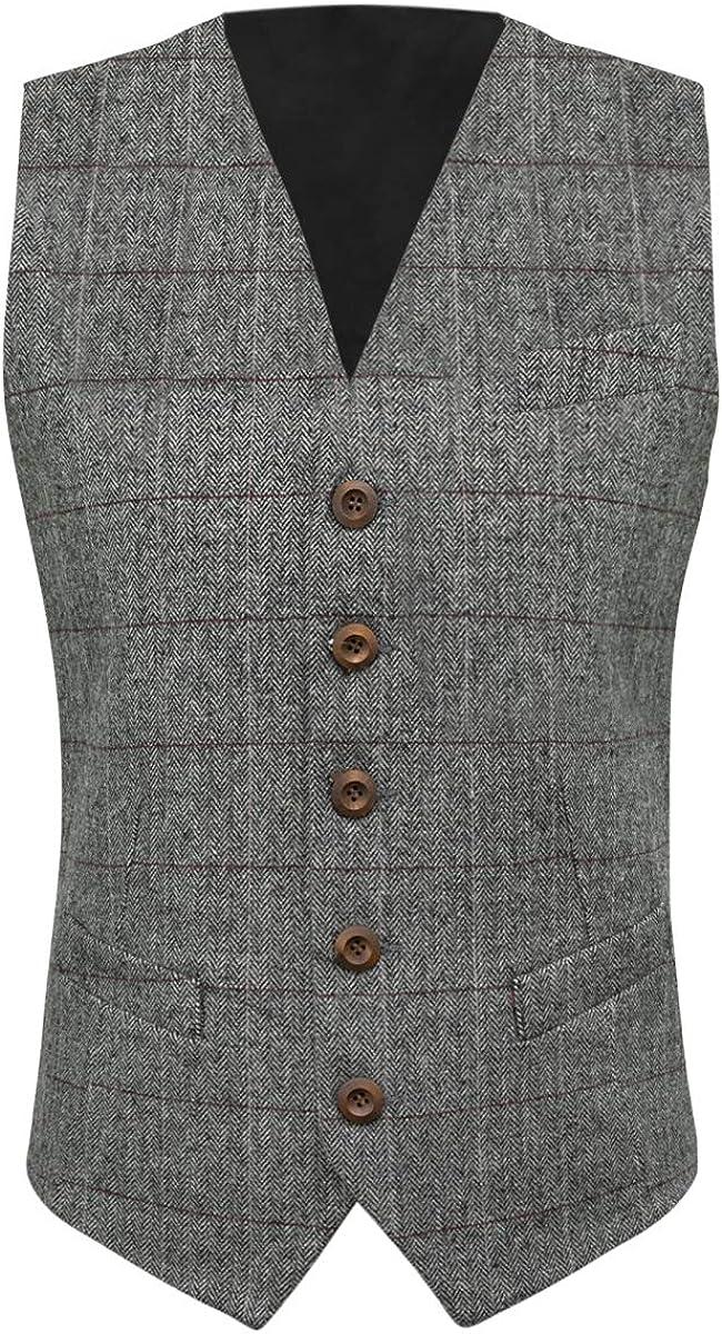 King /& Priory Pewter Grey Herringbone Waistcoat