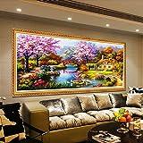 Gemini_Mall - Kit per Diamond Painting, per creare quadri 5D con strass a forma di diamante, immagini artistiche fai da te per decorare la casa e le pareti - Motivo giardino fiorito - Dimensioni: 80 cm x 30 cm Japanese Garden