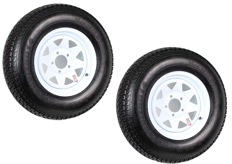 eCustomRim 2-Pk Trailer Tire Rim ST205//75D14 14 in Load C 5 Lug White Spoke