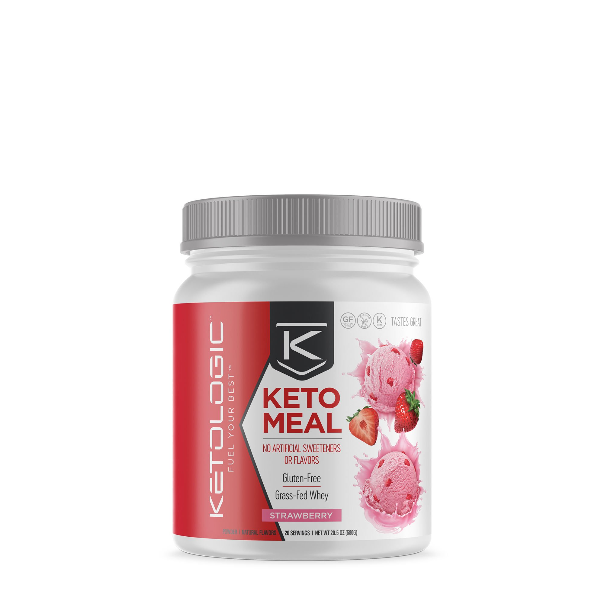 KetoLogic MRP – Keto Meal Replacement MCT Shake – Suppresses Appetite / Promotes Fat Loss / Boosts Ketones – Strawberry, 20 Servings