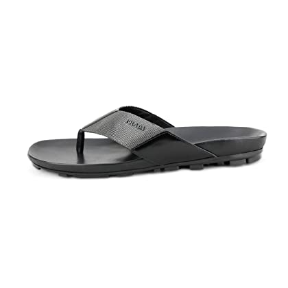 d2be5bc05586 ... Prada Men s Nastro Nylon with Leather Thong Sandals