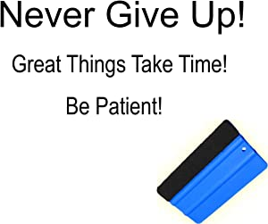 Motivational Wall Decals Vinyl Art – Positive Quote Decoration Sticker with Felt Edge Squeegee for Home Bedroom Living Room Office-Mural Lettering Decor Never Give Up Great Things Take Time Be Patient