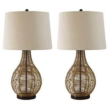 Ashley Furniture Signature Design - Erwin Table Lamps - Rattan - Set of 2 - Casual Style - Brown