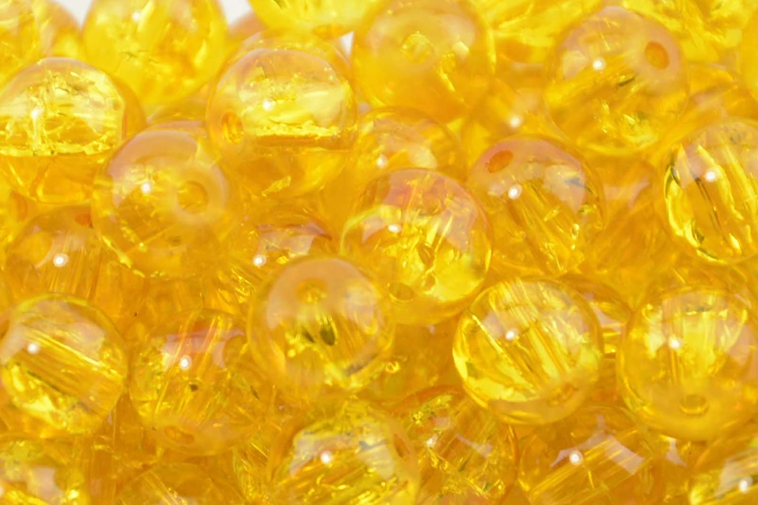 145pcs 6mm Yellow Crackle Glass Beads Box Displays