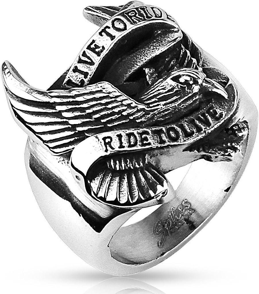 Live To Ride//Ride to Live Largeur 23 mm Bague Homme en Acier Inoxydable Argent/é Disponible en 7 Tailles. Aigle Biker
