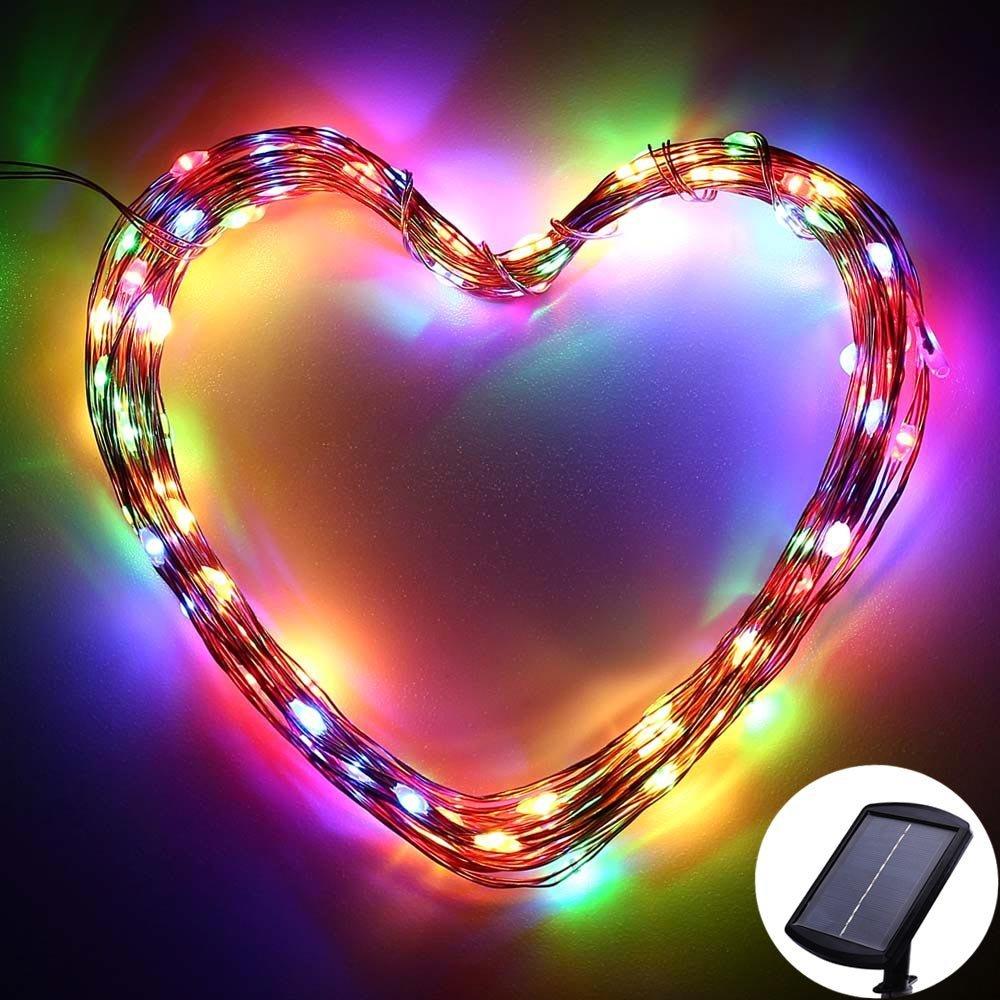 SUPER BRIGHT String Lights 120 LEDs Solar Powered with Lithium Battery By ICICLE, Starry String Copper Wire Fairy Lighting for Decorating, Garden, Patio, Wedding, Holiday Decorations (multi-color)