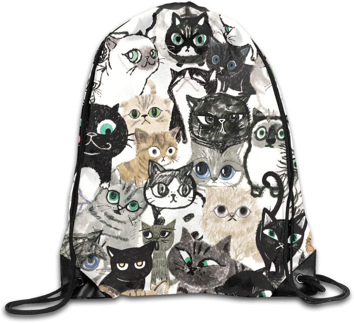 CoolStuff Travel Shoe Bags,Graphic Cat Print Kitten Drawstring Backpack Hiking Climbing Gym Bag,Large Big Durable Reusable Polyester Footwear Protection