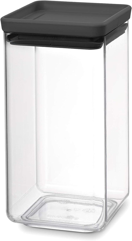 Brabantia Tasty + Bote apilable cuadrado de plástico transparente, 1.6 l, tapa dark grey