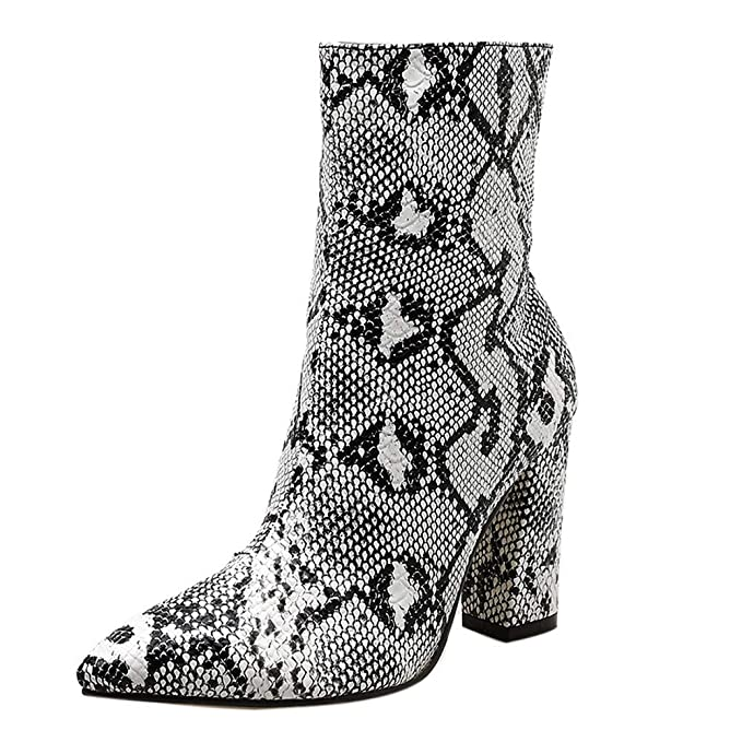 99389321d5d79 Image Unavailable. Image not available for. Color: Women's Mid-Shaft  Snakeskin Material-Block Fashion Chunky High Heel Ankle Boots Pointed Toe