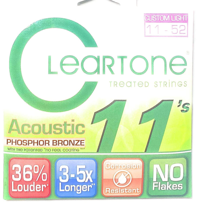 Cleartone 7411 - Cuerdas para guitarra acústica (calibre .011-.052 ...
