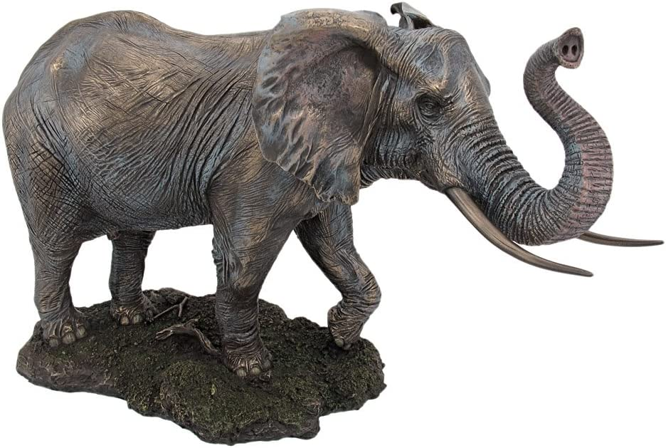 US 12.25 Inch Animal Figure Elephant wRaised Trunk Collectible Display