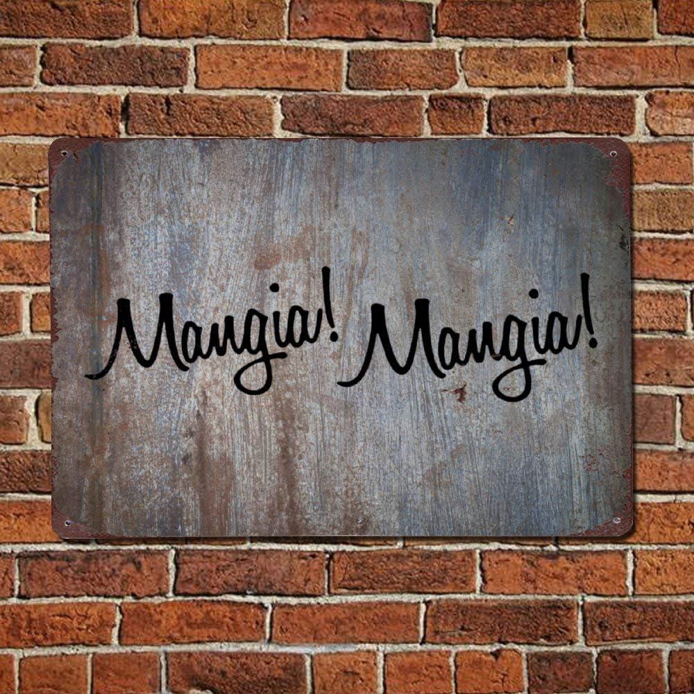 43LenaJon Mangia Mangia! Italian Kitchen Vintage Quotes Metal Sign,Retro Saying Words Sign,Rustic Quote Saying Words Bar Men Cave Garden Wall Art,Farmhouse Aluminum Sign,Home Decor