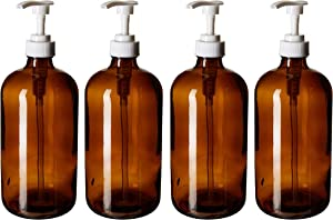 kitchentoolz 32-Ounce Soap and Detergent Glass Bottles - Amber Glass with White Pumps. Great for Lotions, Soaps, Oils, Sauces and Laundry Detergent- Food Safe and Medical Grade (4 Pack)