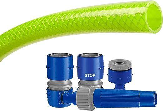 Tatay 9988105 Green Line - Kit Manguera y Conectores para riego de terraza o jardín, 15 Metros de Largo, 5/8