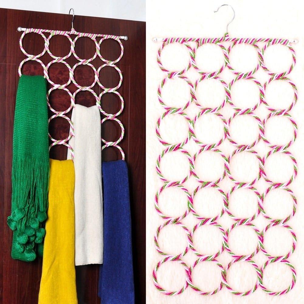 28 Ring Scarf Holder Tie Hanger Belt Closet Clothes Organizer Hook Storage