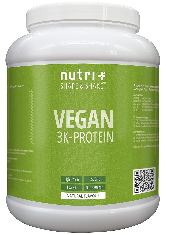 Veganes Eiweißpulver Neutral ohne Süßstoff | 85,8% Eiweiß | 1kg | Nutri-Plus Shape & Shake Vegan