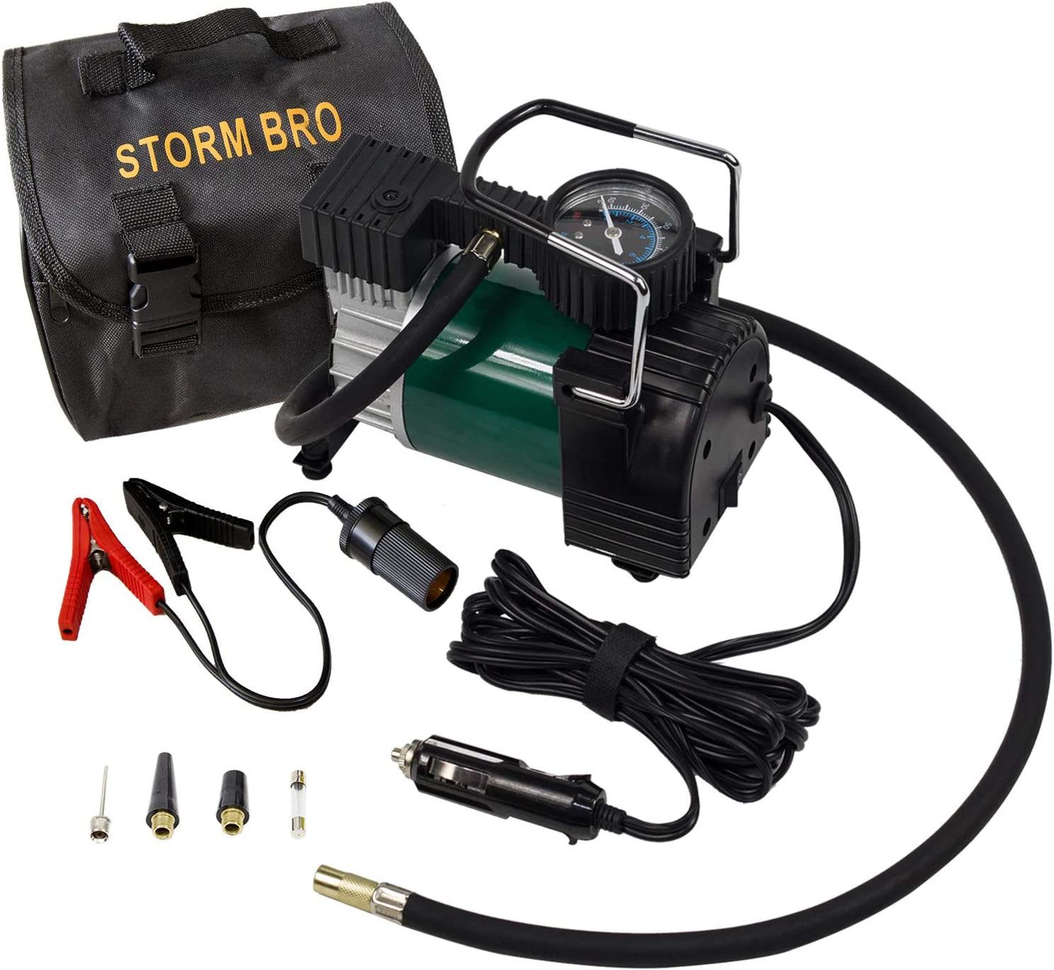 STORM BRO Portable Air Compressor Tire Pump 12V DC 30mm Cylinder and 150PSI Backlight Display Tire Inflator with Carrybag and Transfer Battery Clip for Auto,Trucks,Bicycles,Balls