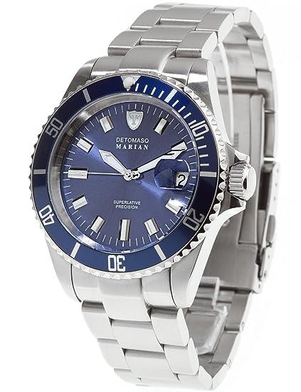 Detomaso DT3006-C - Reloj analógico de cuarzo para hombre con correa de acero inoxidable, color plateado: Amazon.es: Relojes