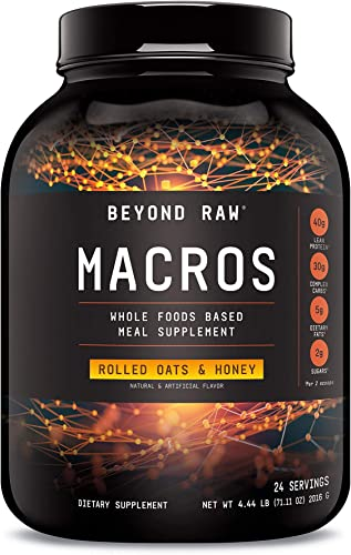 Beyond Raw Macros – Rolled Oats and Honey, 24 Servings, Meal Replacement with 40 Grams of Protein