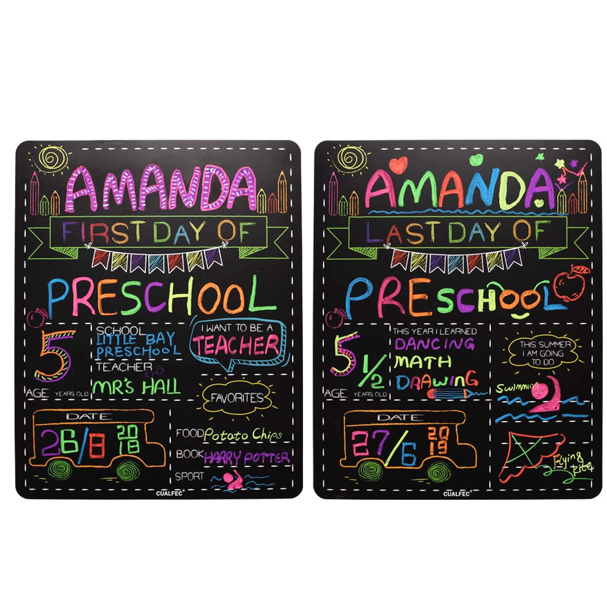"""Personalized First Day and Last Day of School Sign 13"""" x 16"""" Large Chalkboard Style Photo Prop Back to School Supplies - 2 Pcs"""